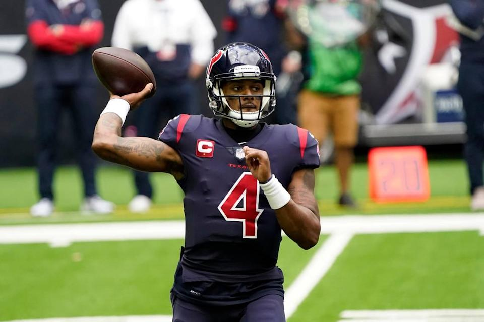 Houston Texans quarterback Deshaun Watson (4) throws a pass against the Cincinnati Bengals during the first half of an NFL football game Sunday, Dec. 27, 2020, in Houston.