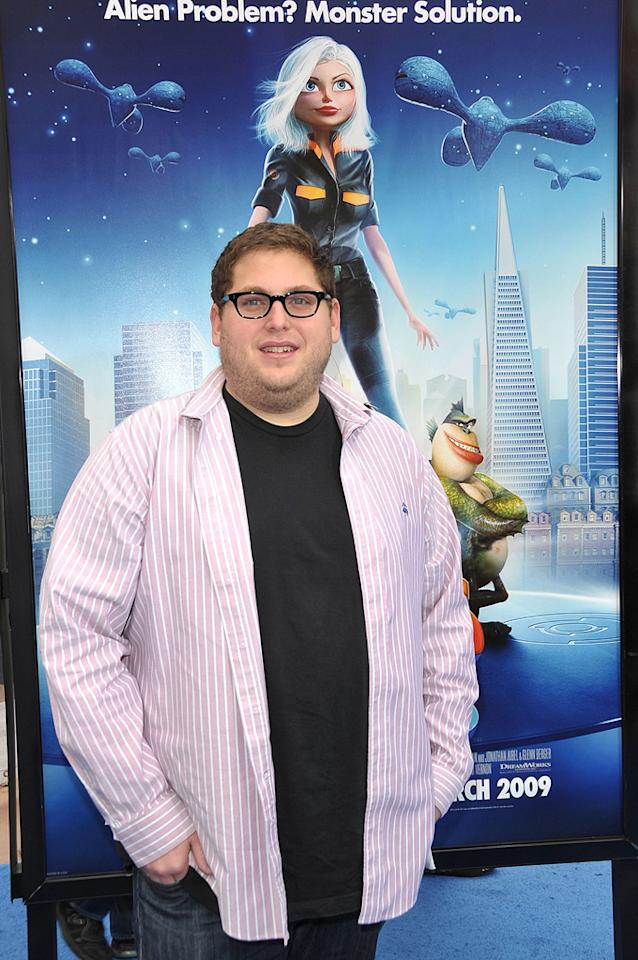 """<a href=""""http://movies.yahoo.com/movie/contributor/1808716500"""">Jonah Hill</a> at the Los Angeles premiere of <a href=""""http://movies.yahoo.com/movie/1809918074/info"""">Monsters vs. Aliens</a> - 03/22/2009"""