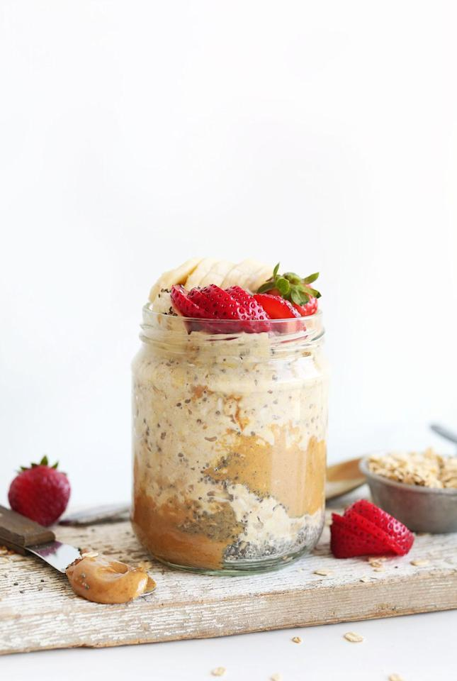 """<p>Did someone say peanut butter for breakfast? Consider this take on overnight oats an upgrade of plain old PB toast. Made with just five ingredients, it's packed with a hefty dose of fiber and protein. </p><p><a class=""""body-btn-link"""" href=""""https://minimalistbaker.com/peanut-butter-overnight-oats/"""" target=""""_blank"""">GET THE RECIPE</a></p><p> <em><em>Per serving</em>: 452 calories, 22.8 g fat (4.1 g sat), 51.7 g carbs, 15.8 g sugar, 229 mg sodium, 8.3 g fiber, 14.6 g protein</em></p>"""