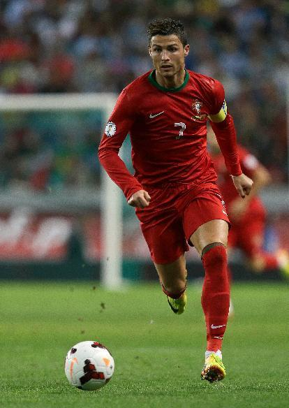 Portugal's Cristiano Ronaldo runs with the ball during their 2014 World Cup qualifying group F soccer match with Israel Friday, Oct. 11 2013, at the Alvalade stadium in Lisbon. (AP Photo/Armando Franca)