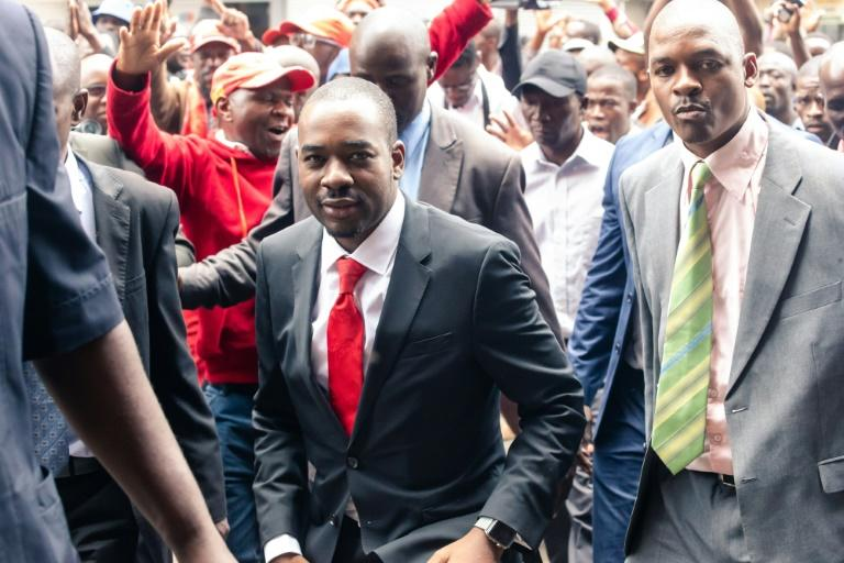 Zimbabwean opposition leader of the MDC (Movement for Democratic Change) Alliance, Nelson Chamisa(C), condemned the police crackdown (AFP Photo/Jekesai NJIKIZANA)
