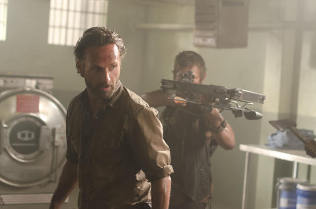 "Rick Grimes (Andrew Lincoln) and Daryl Dixon (Norman Reedus) in ""The Walking Dead"" episode, ""Sick."""