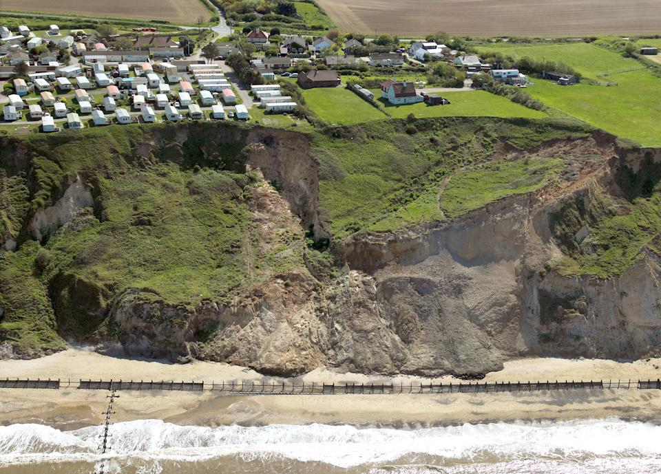 Members of the public have been warned to avoid Vale Road in Trimingham, near Cromer, Norfolk, after the cliff fall (Picture: SWNS)