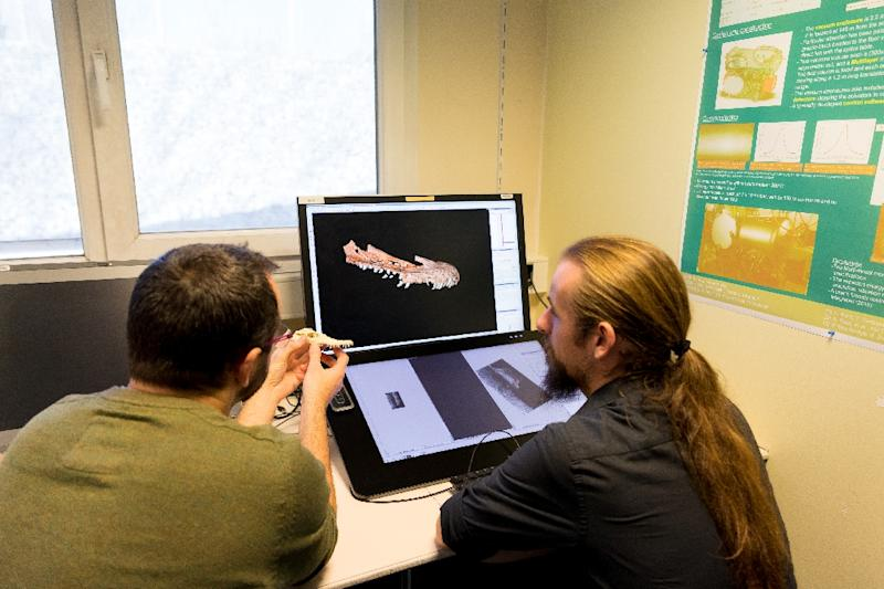 Researchers Vincent Fernand (L) and Vincent Beyrand study a computer image of the jaw of the Halszkaraptor dinosaur in Grenoble (AFP Photo/PIERRE JAYET)