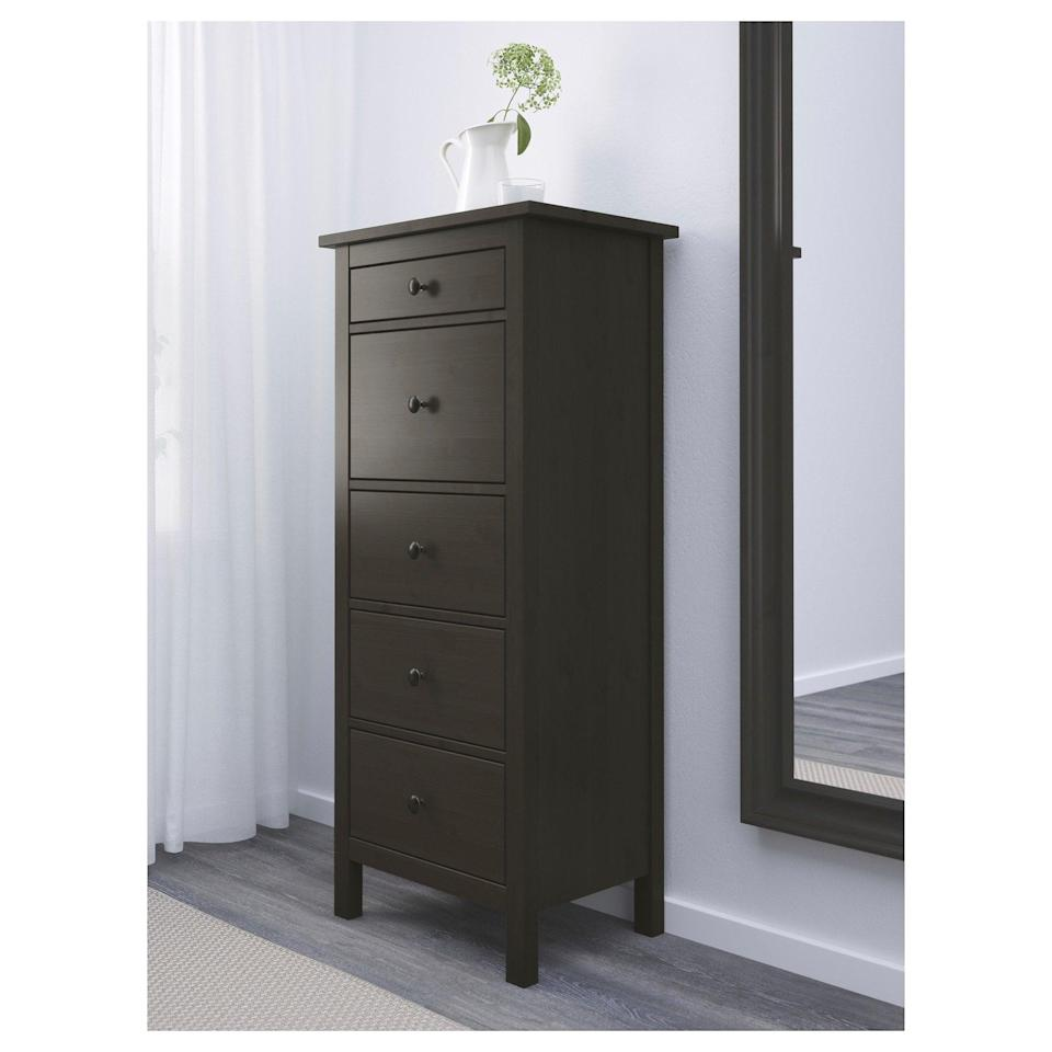 <p>The <span>Hemnes Five Drawer Chest </span> ($199) will give your bedroom plenty of room, without sacrificing storage, thanks to its tall and narrow design.</p>