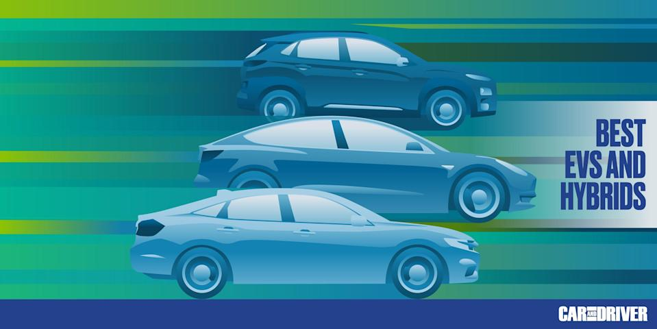 """<p>The <a href=""""https://www.caranddriver.com/ev/"""" rel=""""nofollow noopener"""" target=""""_blank"""" data-ylk=""""slk:electric"""" class=""""link rapid-noclick-resp"""">electric</a> revolution hasn't arrived with the ferocity predicted by futurists the world over, but we're still seeing some pretty big leaps in range, performance, and style with the introduction of each <a href=""""https://www.caranddriver.com/shopping-advice/g32463239/new-ev-models-us/"""" rel=""""nofollow noopener"""" target=""""_blank"""" data-ylk=""""slk:new electric vehicle"""" class=""""link rapid-noclick-resp"""">new electric vehicle</a>. It's a promising sign of things to come, and one that gives shoppers a wide variety of choices. All of the best EVs provide enough range for use as a daily driver while offering features and technology that didn't even exist a few years ago. It's an exciting new segment in the automotive industry, and the list below highlights our top picks for the best hybrids, the best plug-in hybrids, and the best pure EVs available for 2021.</p><p>Those who are interested in the best EVs and hybrids from 2020 can <a href=""""https://www.caranddriver.com/features/g32853293/best-hybrid-electric-cars-2019/"""" rel=""""nofollow noopener"""" target=""""_blank"""" data-ylk=""""slk:refer to last year's list"""" class=""""link rapid-noclick-resp"""">refer to last year's list</a>.<br></p>"""