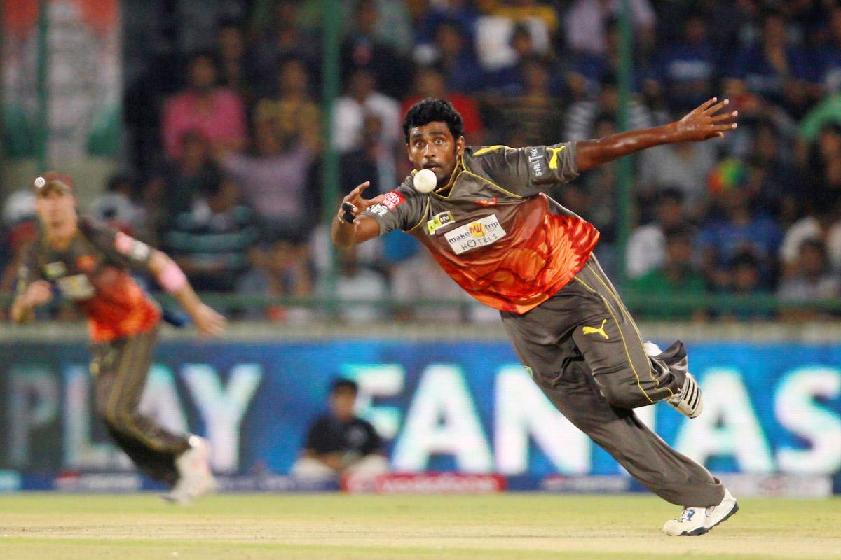 Tisara Perera fields off his own bowling during the Eliminator match of the 2013 Pepsi Indian Premier League between the Rajasthan Royals and the Sunrisers Hyderabad held at the Feroz Shah Kotla Stadium, Delhi on the 22nd May 2013. (BCCI)