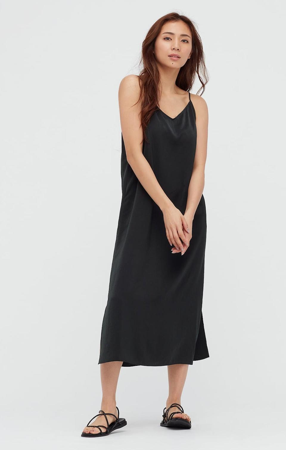 Uniqlo Camisole Side Slit Long Dress. Image via Uniqlo.