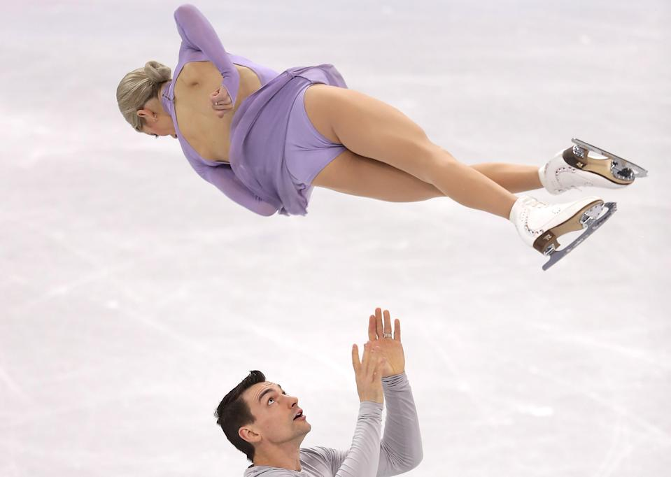 <p>While a medal at the PyeongChang Olympics may not be in the cards, the Knierims are happy to be at the Games and credit their on-ice chemistry to the emotions they share together off the ice. (Getty) </p>
