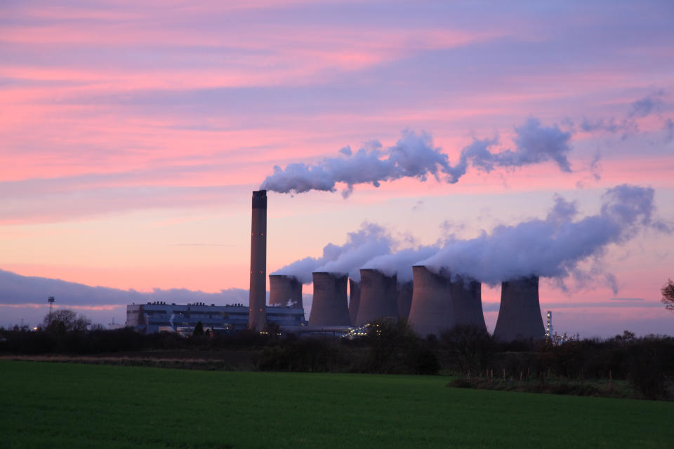 Drax Power Station at sunset, Selby North Yorkshire England UK