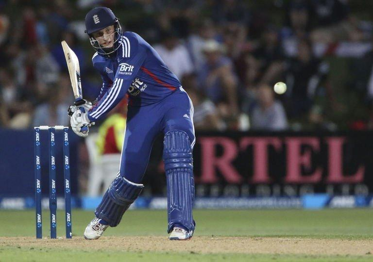 England's Joe Root bats against New Zealand during the second one-day international in Napier on February 20, 2013