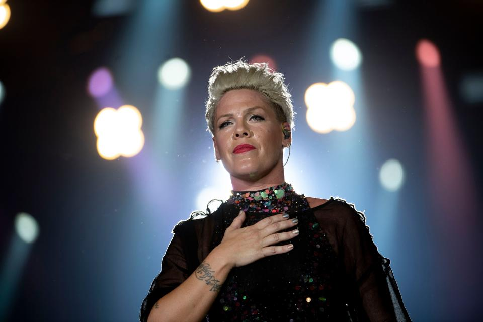 "Pink calls Trump ""a coward and a racist"" for his handling of the George Floyd death protests. (Photo: MAURO PIMENTEL/AFP via Getty Images)"