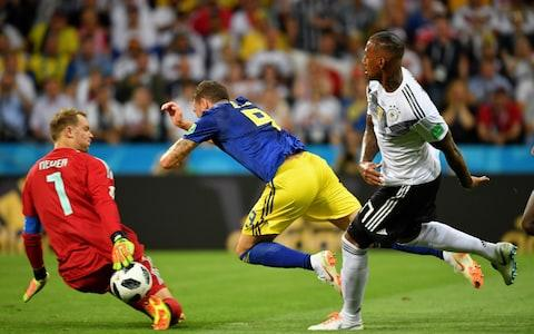 Jerome Boateng sends Marcus Berg tumbling in the box - Credit: getty images
