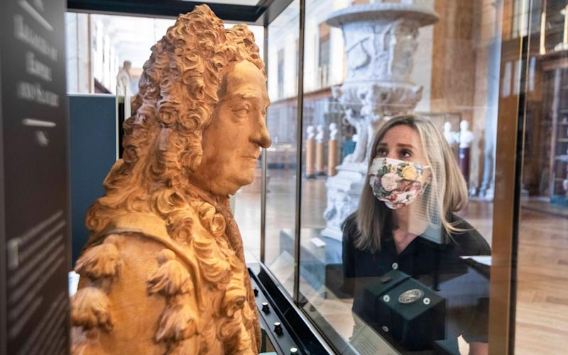 The bust of Sir Hans Sloane at the British Museum. The bust has been moved from a plinth and placed in a cabinet with contextual notes about slavery - Julian Simmonds