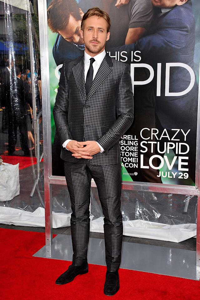 """<a href=""""http://movies.yahoo.com/movie/contributor/1804035474"""">Ryan Gosling</a> at the New York City premiere of <a href=""""http://movies.yahoo.com/movie/1810157025/info"""">Crazy, Stupid, Love</a> on July 19, 2011."""