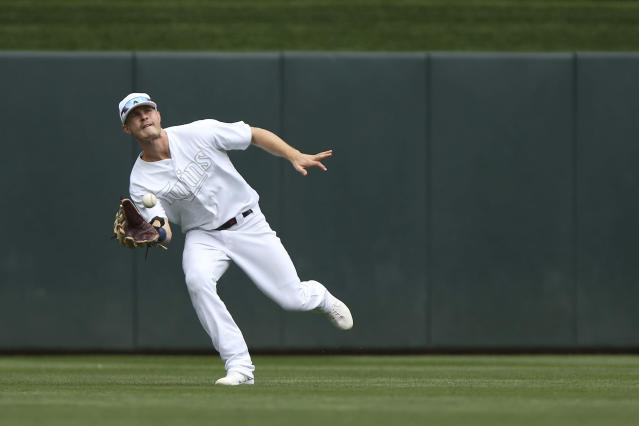 Minnesota Twins' Max Kepler catches a ball in center field hit by Detroit Tigers' Harold Castro during the eighth inning of a baseball game Sunday, Aug. 25, 2019, in Minneapolis. (AP Photo/Stacy Bengs)