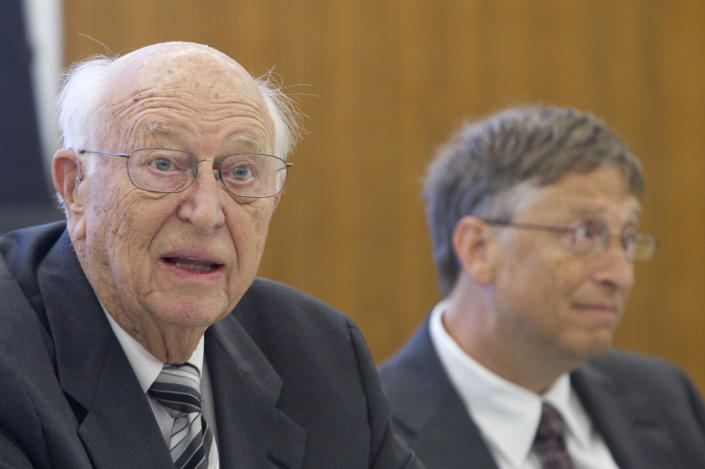 Image: Bill Gates Sr., father of Microsoft Inc. founder Bill Gates, speaks during an interview with Bill Gates in Alexandria, VA. (Andrew Harrer / Bloomberg via Getty Images file)