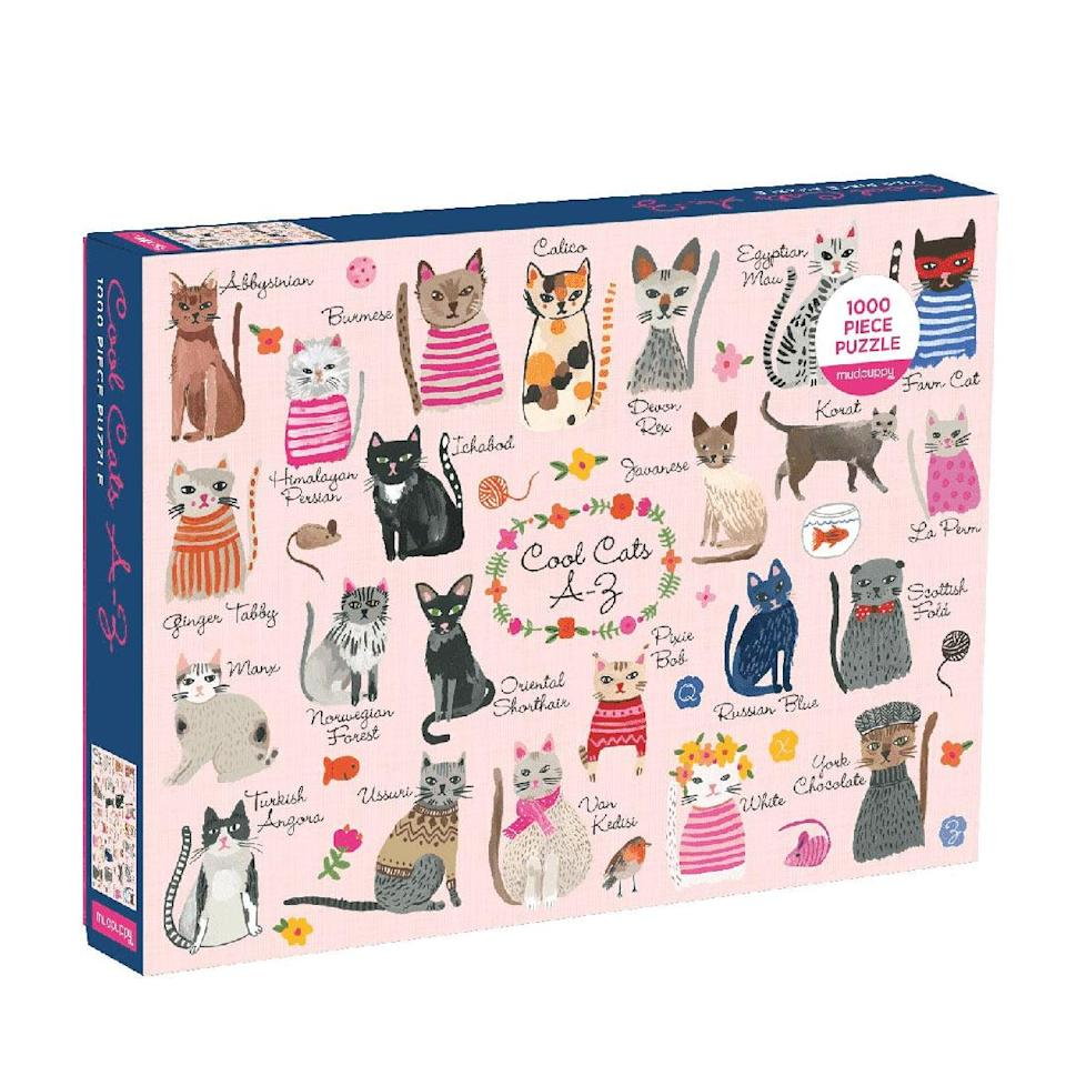"""<p>This puzzle automatically puts you in the company of """"cool cats.""""</p> <p><strong>Buy it!</strong> Cool Cats A-Z Family Puzzle, $16.00; <a href=""""https://www.mudpuppy.com/products/cool-cats-a-z-1000-piece-puzzle?utm_medium=cpc&utm_source=google&utm_campaign=Google%20Shopping&currency=USD&gclid=CjwKCAiAsOmABhAwEiwAEBR0Zv0tmhgE4FV_zQ1o39siXxUen3DdPDi35jRwx6ms1SsEsHDIxBV8QRoC0iIQAvD_BwE"""" rel=""""nofollow noopener"""" target=""""_blank"""" data-ylk=""""slk:MudPuppy.com"""" class=""""link rapid-noclick-resp"""">MudPuppy.com</a></p>"""