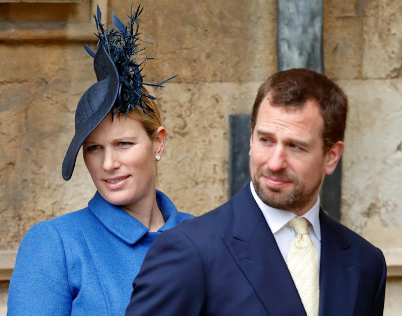 Zara Tindall and Peter Phillips attend the traditional Easter Sunday church service at St George's Chapel, Windsor Castle on April 1, 2018 in Windsor, England.