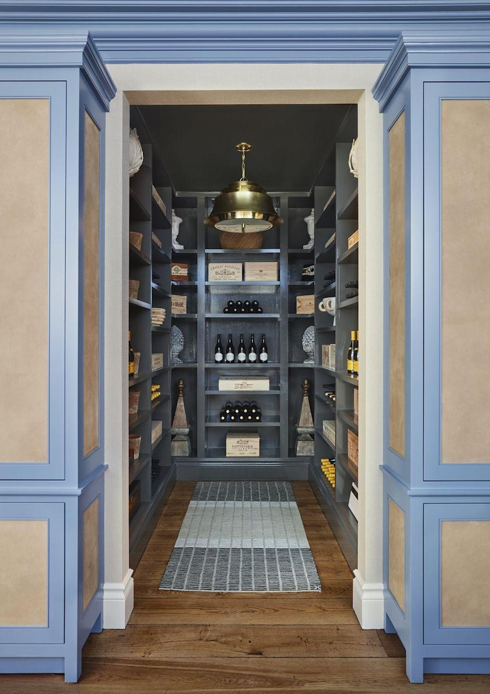 "<p>Designer <a href=""http://sarahblankdesignstudio.com/"" rel=""nofollow noopener"" target=""_blank"" data-ylk=""slk:Sarah Blank"" class=""link rapid-noclick-resp"">Sarah Blank</a> repurposed the pantry of the <a href=""https://www.veranda.com/decorating-ideas/a30641052/kips-bay-decorator-show-house-palm-beach-2020/"" rel=""nofollow noopener"" target=""_blank"" data-ylk=""slk:Kips Bay Palm Beach Show House"" class=""link rapid-noclick-resp"">Kips Bay Palm Beach Show House</a> as an open wine bar and tasting room. The stylish wine racks and stunning brass pendant light (<a href=""https://www.curreyandcompany.com/"" rel=""nofollow noopener"" target=""_blank"" data-ylk=""slk:Currey & Co."" class=""link rapid-noclick-resp"">Currey & Co.</a>) beckons guests to come in and enjoy a glass. </p>"