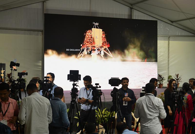 Members of the India media cover the developments at ISRO Telemetry Tracking and Command Network.