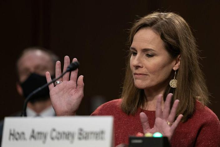 Supreme Court nominee Amy Coney Barrett sparred on Tuesday with Democrats who sought to reveal how she'd rule on future Supreme Court decisions. (Getty Images)