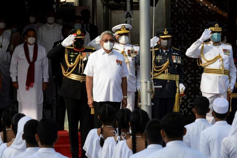 President Gotabaya Rajapaksa (centre) celebrated the national day at a military parade in the capital Colombo
