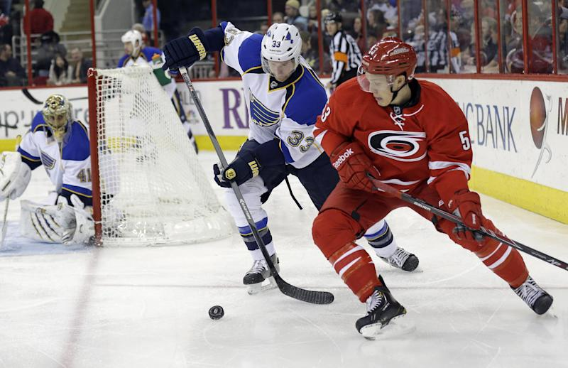 Carolina caps 10-win month by beating Blues 3-1