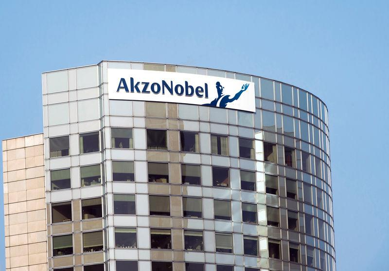 FILE PHOTO: The sign of AkzoNobel is pictured at its headquarters in Amsterdam