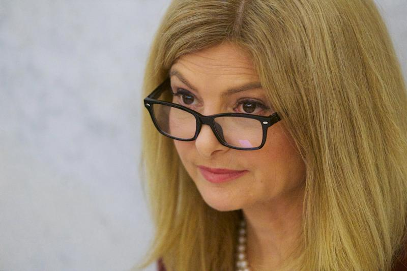 Attorney Lisa Bloom arrives at the Montgomery County Courthouse during Bill Cosby's sexual assault retrial on Thursday, April 12, 2018, in Norristown, Pa.