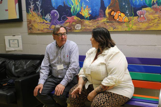 Kenn Hale, director of legal services at the Advocacy Centre for Tenants Ontario, speaks with paralegal Tracey Lasook in Toronto on June 13, 2019.