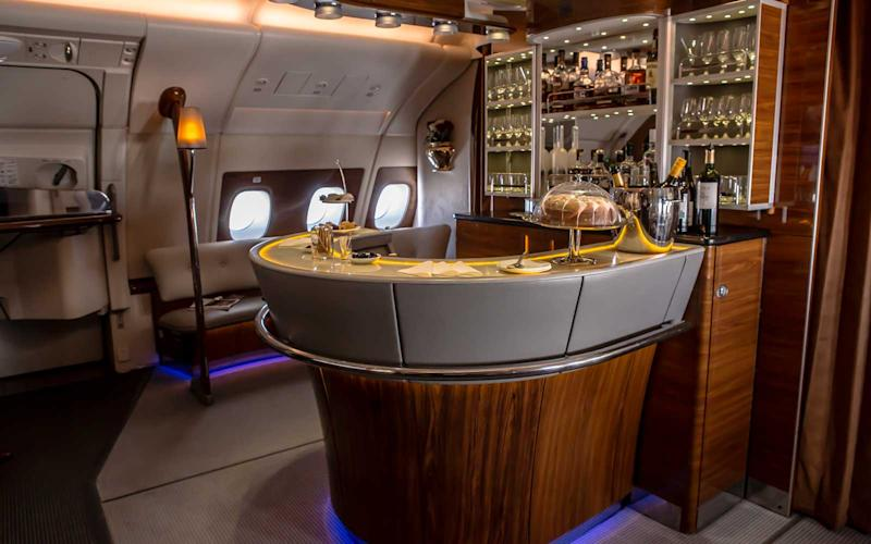 The A380 features an onboard bar and lounge area in business class. | Talia Avakian