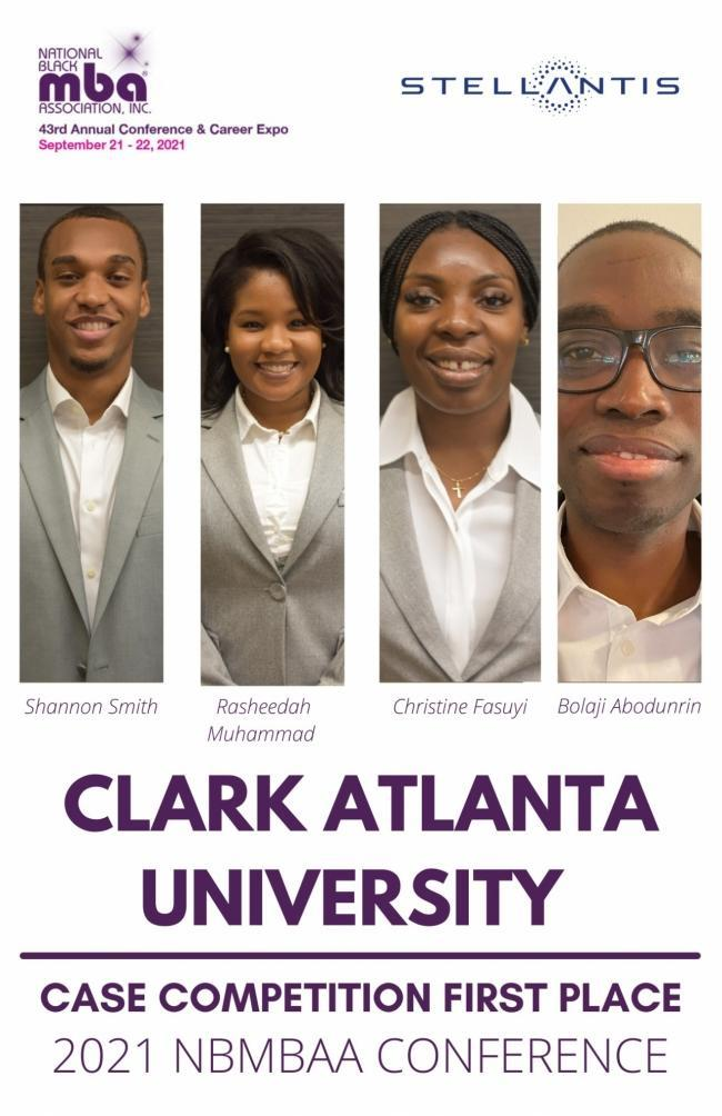 Talented MBA candidates from 35 of the nation's leading business schools competed for $50,000 in scholarships in the 2021 National Black MBA Association (NBMBAA) Graduate Student Case Competition®, sponsored by Stellantis. This year, the students from Clark Atlanta University took home the first place trophy as national champions and $25,000 in scholarships.
