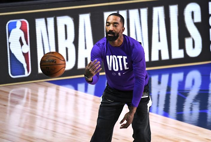 ORLANDO, FLORIDA OCTOBER 2, 2020- Lakers J.R. Smith warms-up before Game 2 of the NBA FInals against the Heat in Orlando Friday. (Wally Skalij/Los Angeles Times)