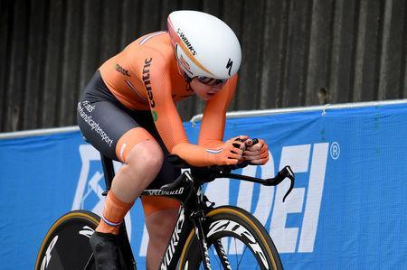 Cycling - UCI Road World Championships - Women Individual Time Trial - Bergen, Norway - September 19, 2017 - Anna van Der Breggen from The Netherlands in action. NTB Scanpix/Marit Hommedal via REUTERS ATTENTION EDITORS - THIS IMAGE WAS PROVIDED BY A THIRD PARTY. NORWAY OUT. NO COMMERCIAL OR EDITORIAL SALES IN NORWAY.