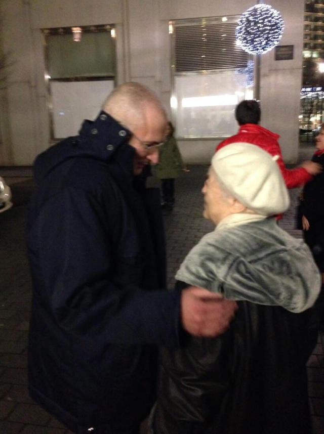 In this photo provided by Newtimes.ru on Saturday, Dec. 21, 2013, Mikhail Khodorkovsky, left, meets his mother Marina, right, at the hotel 'Adlon' in Berlin, Germany. The former oil baron Mikhail Khodorkovsky was reunited with his family in Berlin on Saturday, a day after being released from a decade-long imprisonment in Russia. Khodorkovsky, a prominent critic of Russian President Vladimir Putin, was meeting with his eldest son Pavel and his parents, Marina and Boris, who had flown separately to the German capital to meet him, said Christian Hanne, Khodorkovsky's spokesman. (AP Photo/Newtimes.ru) RUSSIA OUT