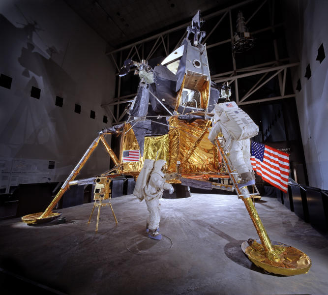 "This undated handout photo provided by the National Air and Space Museum, Smithsonian Institution shows the Apollo Lunar Module number 2, currently on display in the Lunar Exploration Vehicles gallery in the National Air and Space Museum in Washington. Some of the most iconic artifacts of aviation and space history are getting an updated display for the 21st century, with the Apollo moon landing as the centerpiece. For the first time since its 1976 opening, the Smithsonian's National Air and Space Museum plans to overhaul its central exhibition showing the milestones of flight. The extensive renovation announced Thursday will be carried out over the next two years with portions of the exhibit closing temporarily over time, said Museum Director J.R. ""Jack"" Dailey. (AP Photo/Eric Long, National Air and Space Museum, Smithsonian Institution)"