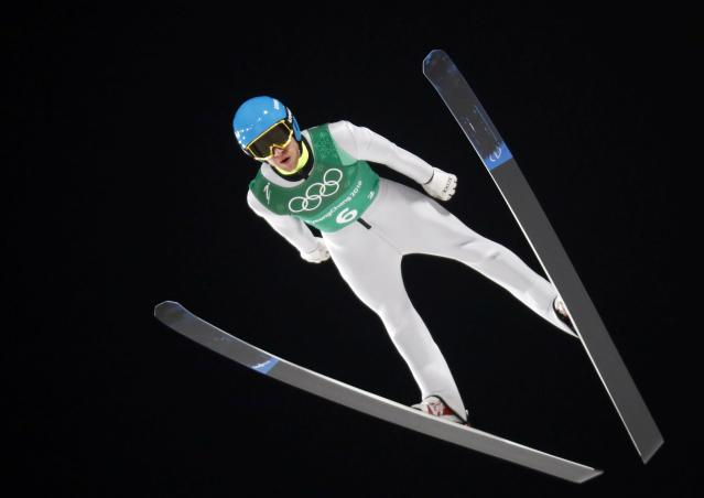 Ski Jumping - Pyeongchang 2018 Winter Olympics - Men's Team Trial round - Alpensia Ski Jumping Centre - Pyeongchang, South Korea - February 19, 2018 - Olympic Athlete from Russia Denis Kornilov competes. REUTERS/Dominic Ebenbichler
