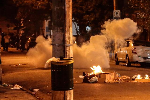 Riot forces use tear gas at a protest against Brazilian president Jair Bolsonaro and racism in Sao Paulo. (Getty Images)