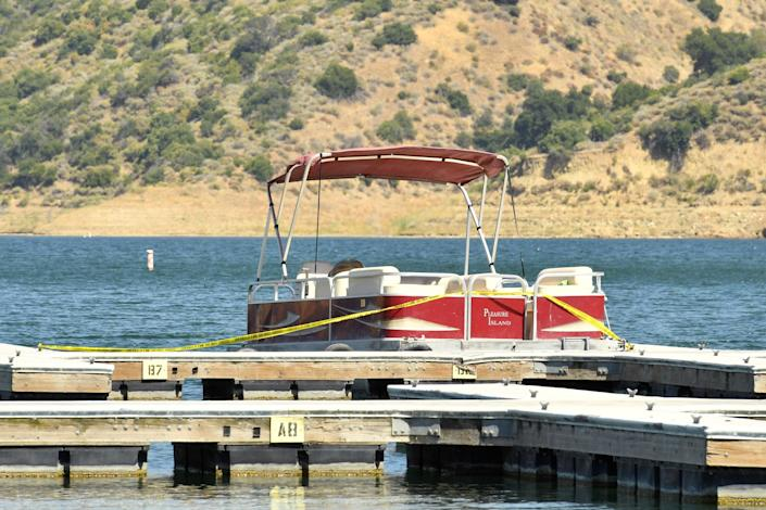 A pontoon boat is docked and roped off with police tape at Lake Piru, where actress Naya Rivera was reported missing Wednesday, on July 8, 2020. According to the Ventura County Sheriff's Department this is believed to the boat that was rented by Rivera. (Photo: Getty Images)