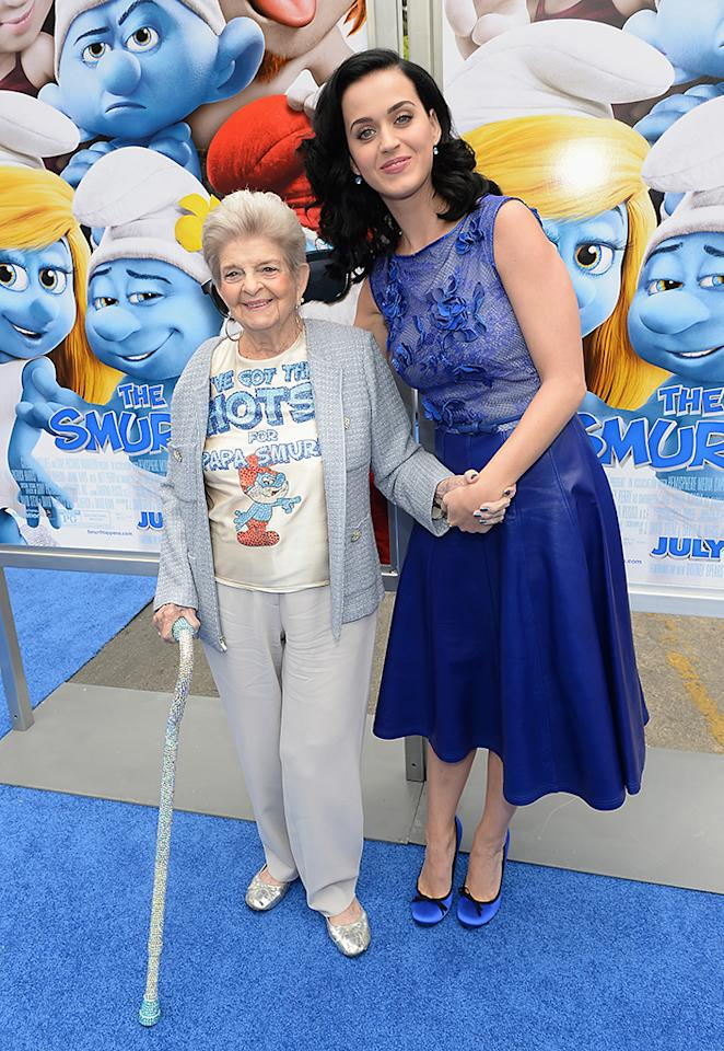 "WESTWOOD, CA - JULY 28:  Singer Katy Perry (R) and grandmother Ann Hudson attends the Los Angeles premiere of ""The Smurfs 2"" at Regency Village Theatre on July 28, 2013 in Westwood, California.  (Photo by Michael Buckner/Getty Images for SONY)"