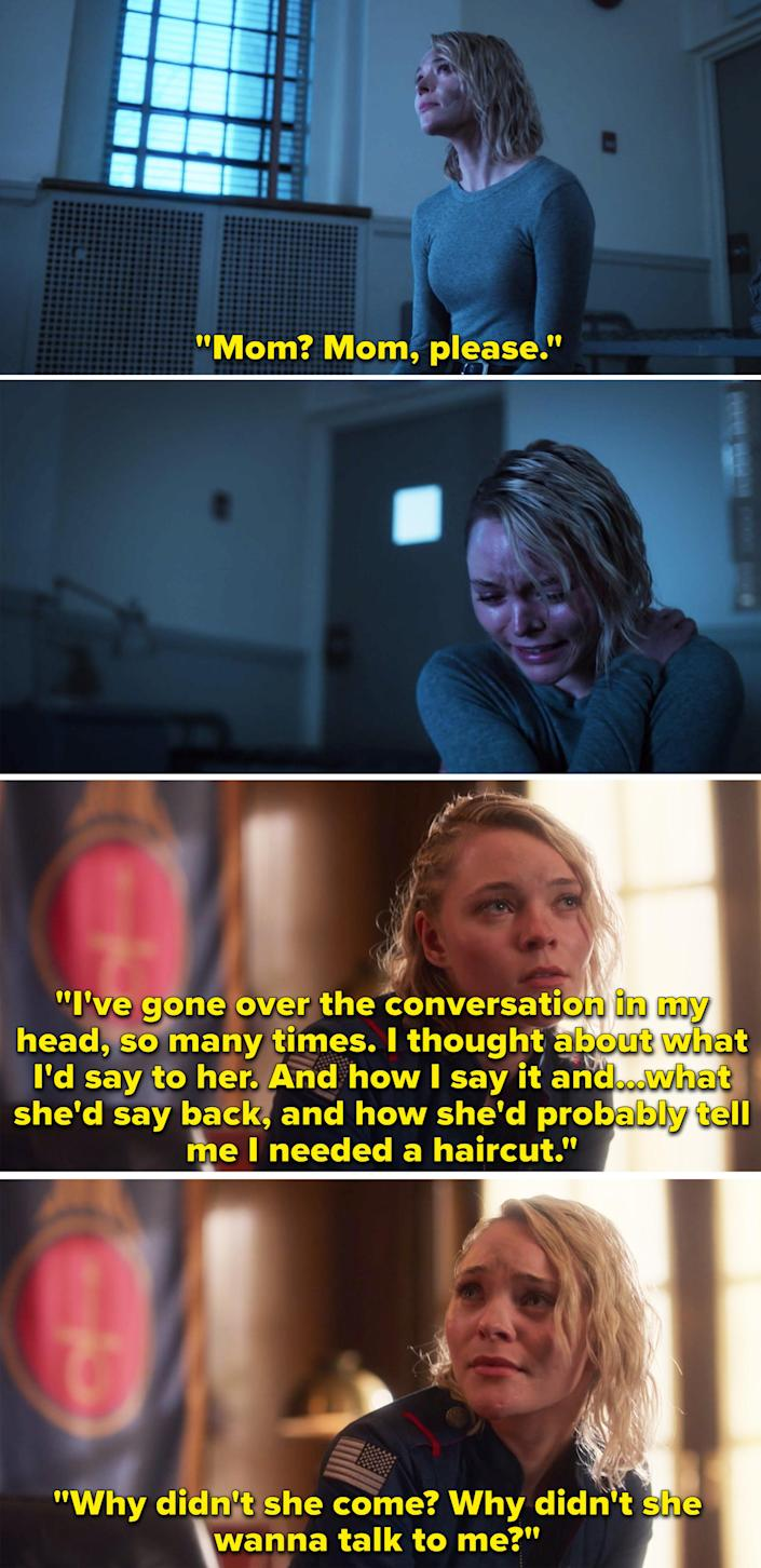 Raelle crying and saying she thought about the conversation she'd have with her mom and wondering why she didn't come
