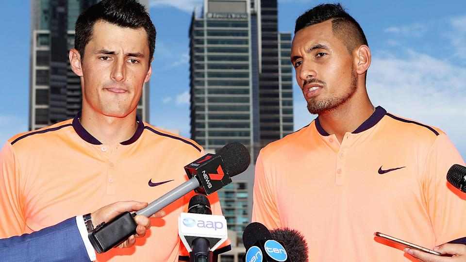 Bernard Tomic and Nick Kyrgios, pictured here in 2017.