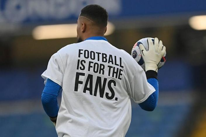 Players wore T-shirts expressing their opposition to plans for a European Super League ahead of Chelsea's Premier League match with Brighton