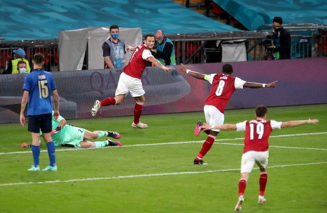 Marko Arnautovic, centre, thought he broke the deadlock but was denied by VAR