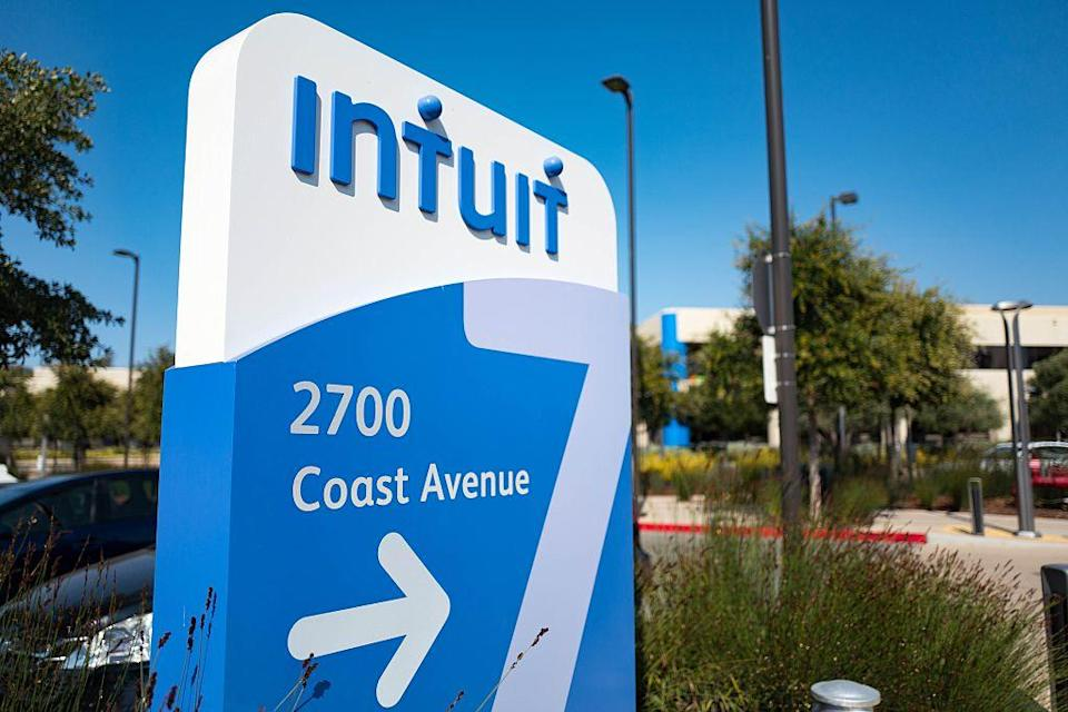 Signage for financial software company Intuit at the company's headquarters in the Silicon Valley town of Mountain View, California, August 24, 2016. (Photo by Smith Collection/Gado/Getty Images).