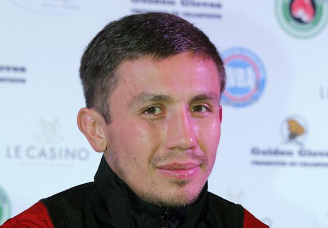 FILE - In this March 26, 2013, file photo, WBA middleweight champion, Gennady Golovkin, of Kazakhstan, poses for photographers during a press conference in Monaco. Golovkin is taking his fifth fight in 13 months against Osumanu Adama in Monte Carlo this weekend instead of waiting around for the big-name bouts he's hoping to land this year. (AP Photo/Lionel Cironneau, File)