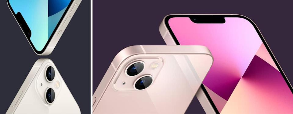 apple iphone 13 in rose gold and white on purple backgrounds