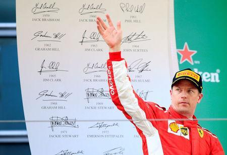 Formula One F1 - Chinese Grand Prix - Shanghai International Circuit, Shanghai, China - April 15, 2018 Ferrari's Kimi Raikkonen on the podium after finishing third in the race REUTERS/Aly Song
