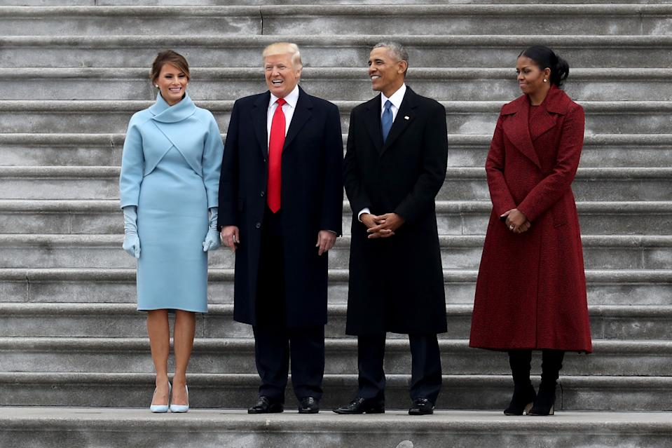 Melania and Donald Trump with Barack and Michelle Obama and Trump's inauguration
